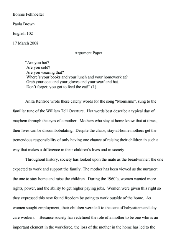 English Literature Argumentative Essay