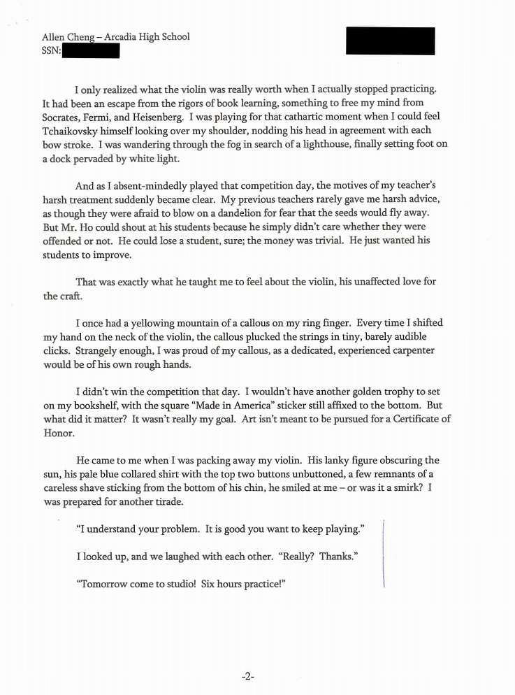 College admission essay about parent committing suicide