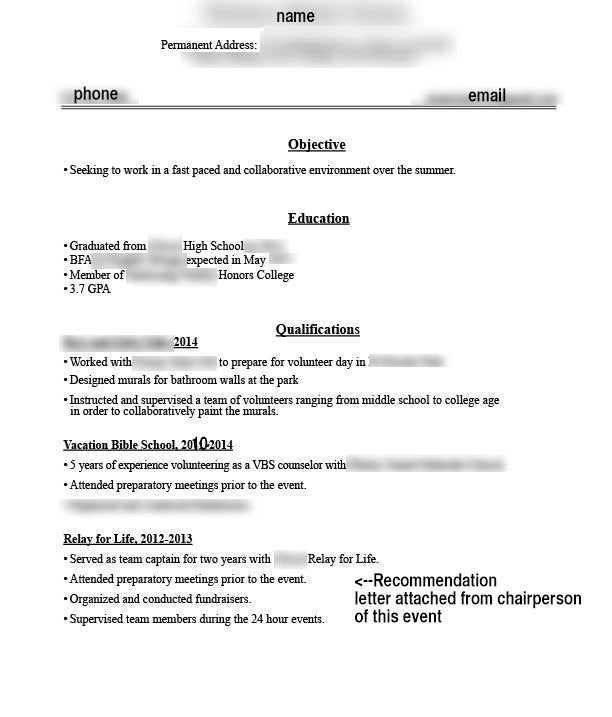 first resume for college student