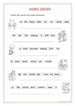 Order of sentences worksheets assignmenthelp