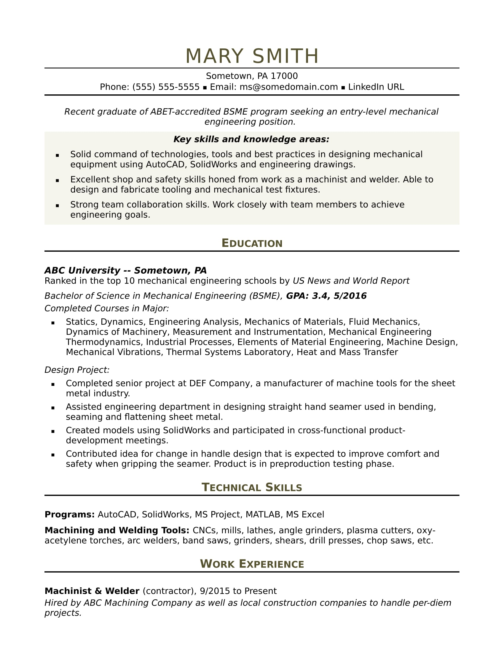 Resume Format For Experienced Mechanical Engineer India لم يسبق له