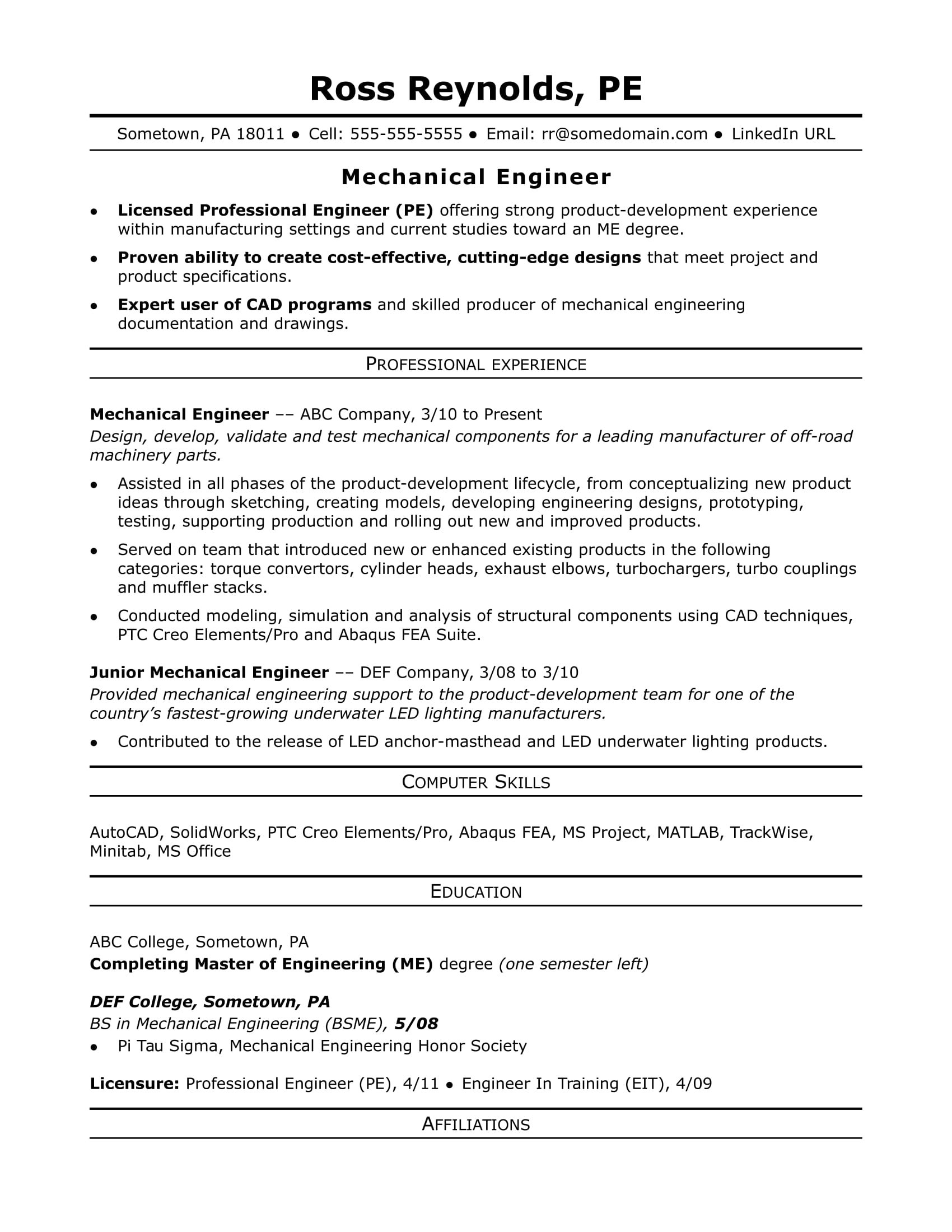 Resume For Mechanical Engineer Experience Essay Writing University
