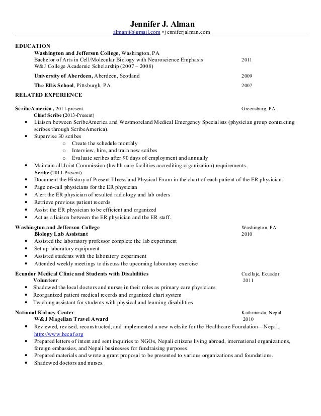 Resume for medical scribe psychology homework help
