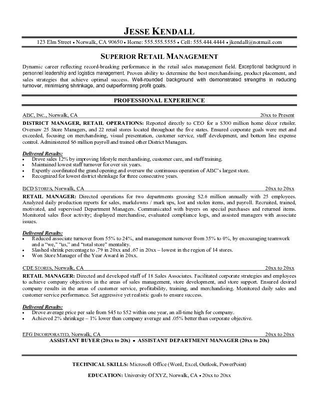 Resume Objective For Sales Manager Position