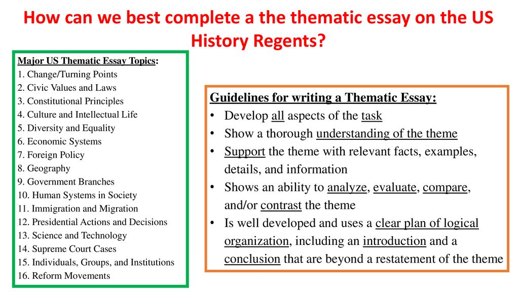 Us history regents probable thematic essay topics