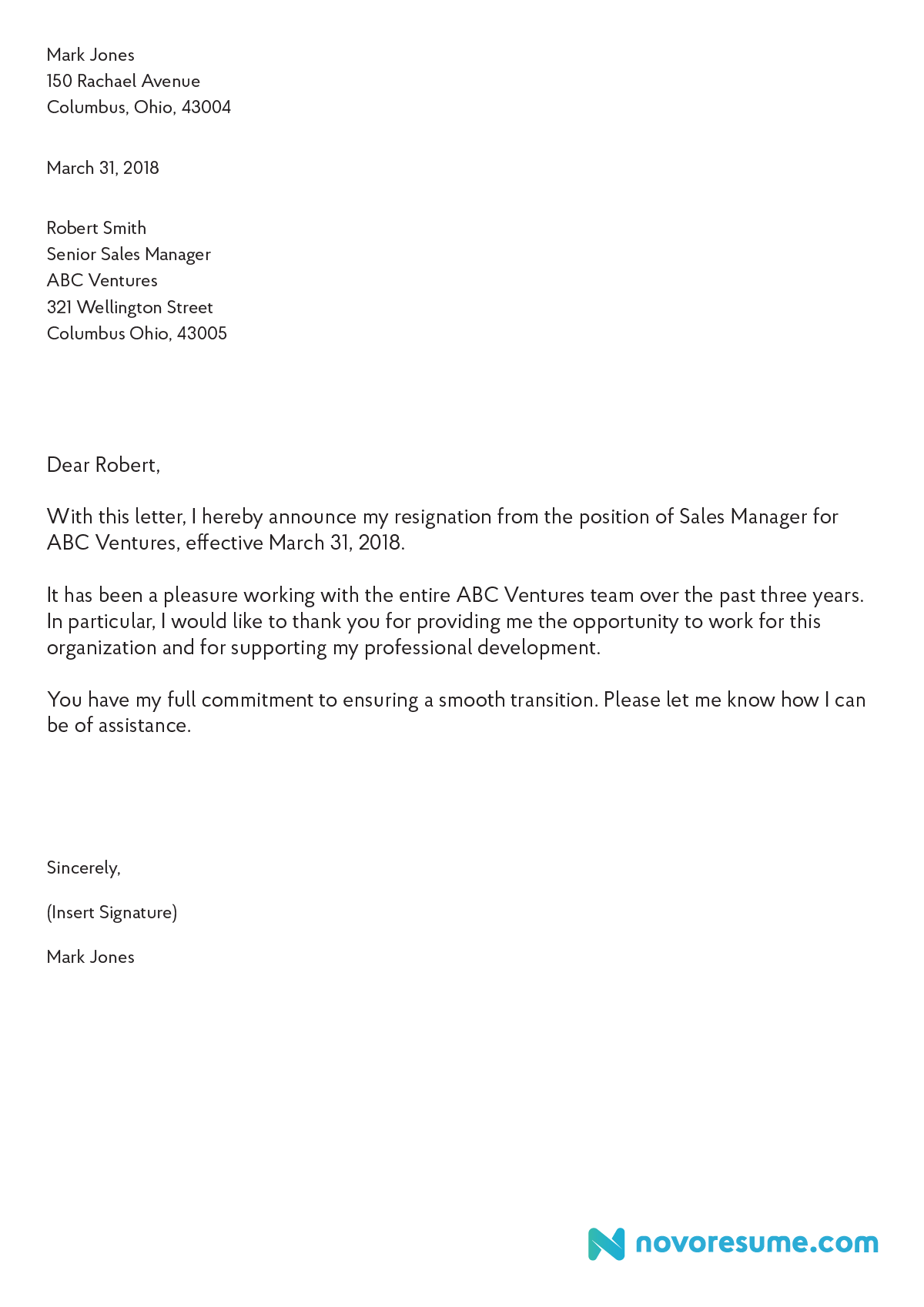 Professional Letter Of Resignation Template from flood-rescue.com